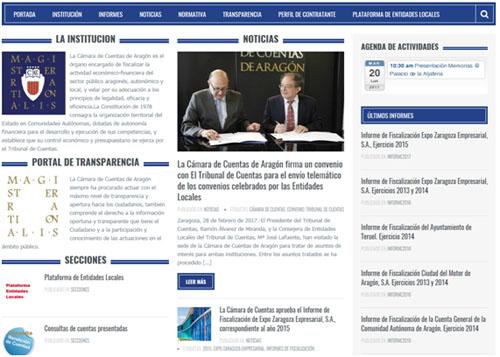 La Cámara de Cuentas de Aragón renueva su página web